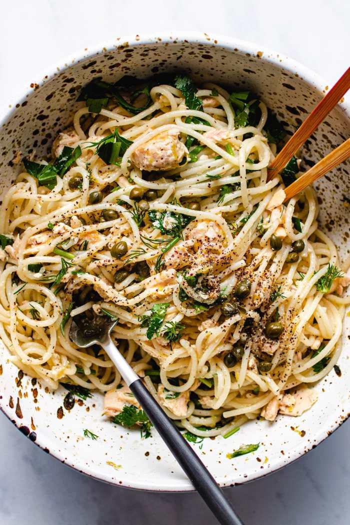Lemony canned tuna spaghetti pasta recipe is simple and refreshing from I Heart Umami.