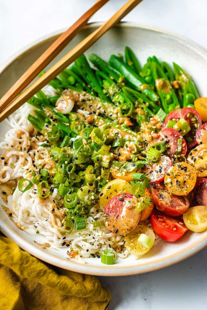 The plate shows the low carb noodles with tomatoes and sugar snap peas with almond butter sauce