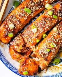 A keto air fryer teriyaki salmon feature photo