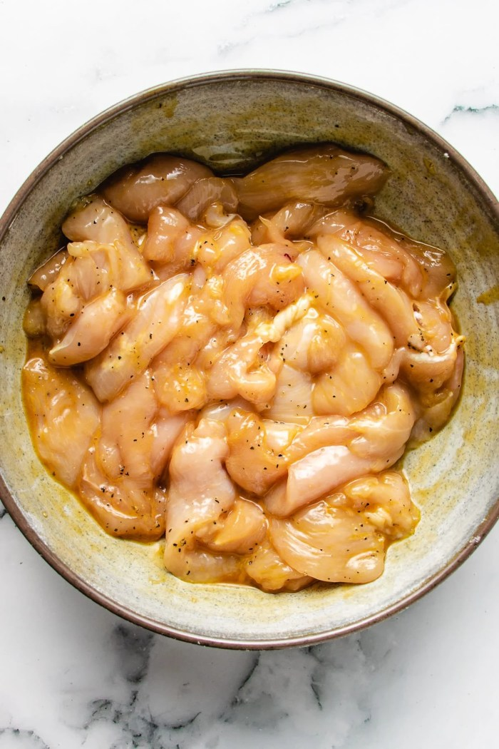 Photo shows thinly sliced chicken breast seasoned with marinade