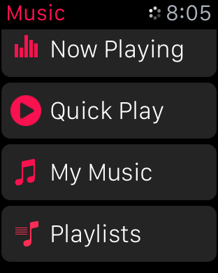 Quick Play Music watchOS 2 beta 5