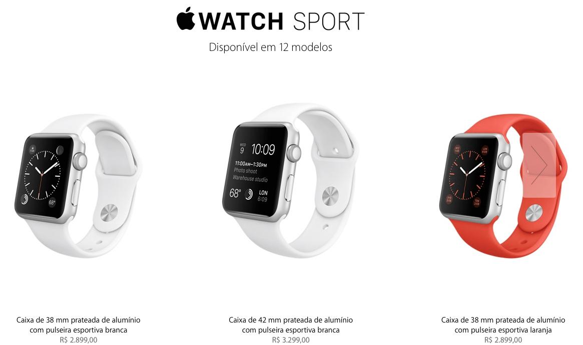 2fee77fc110 Apple confirma que Watch chegará no Brasil com preços entre R  2.899 ...