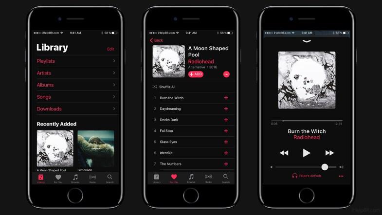 Conceito do aplicativo Música do iOS em tema escuro.