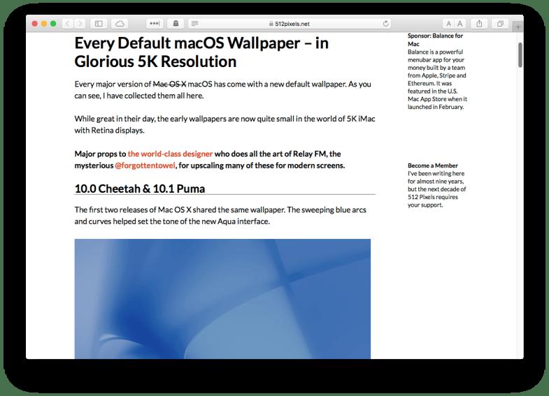 Planos de fundo de versões antigas do macOS.