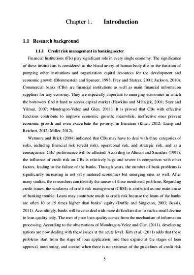 Credit risk management in banks dissertation proposal