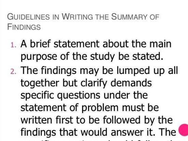 Guidelines in writing chapter 5 thesis point is