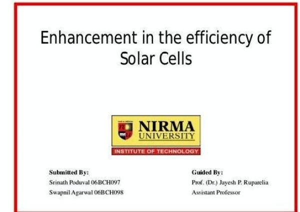 Organic solar cells thesis proposal academic research