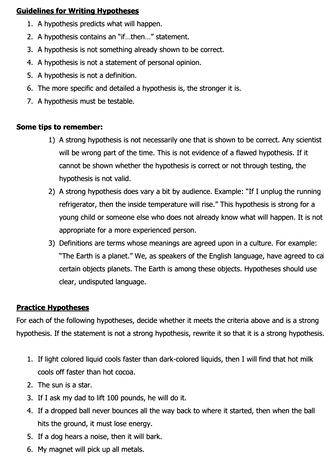 Practice Writing Hypothesis Worksheet Answers