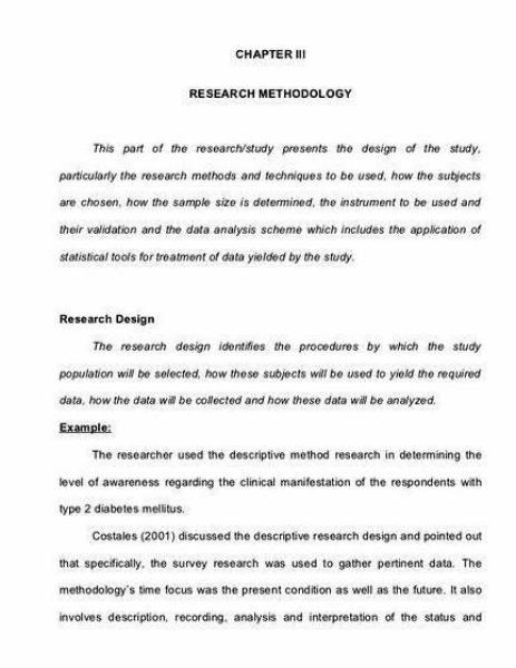 Methodology sample thesis.