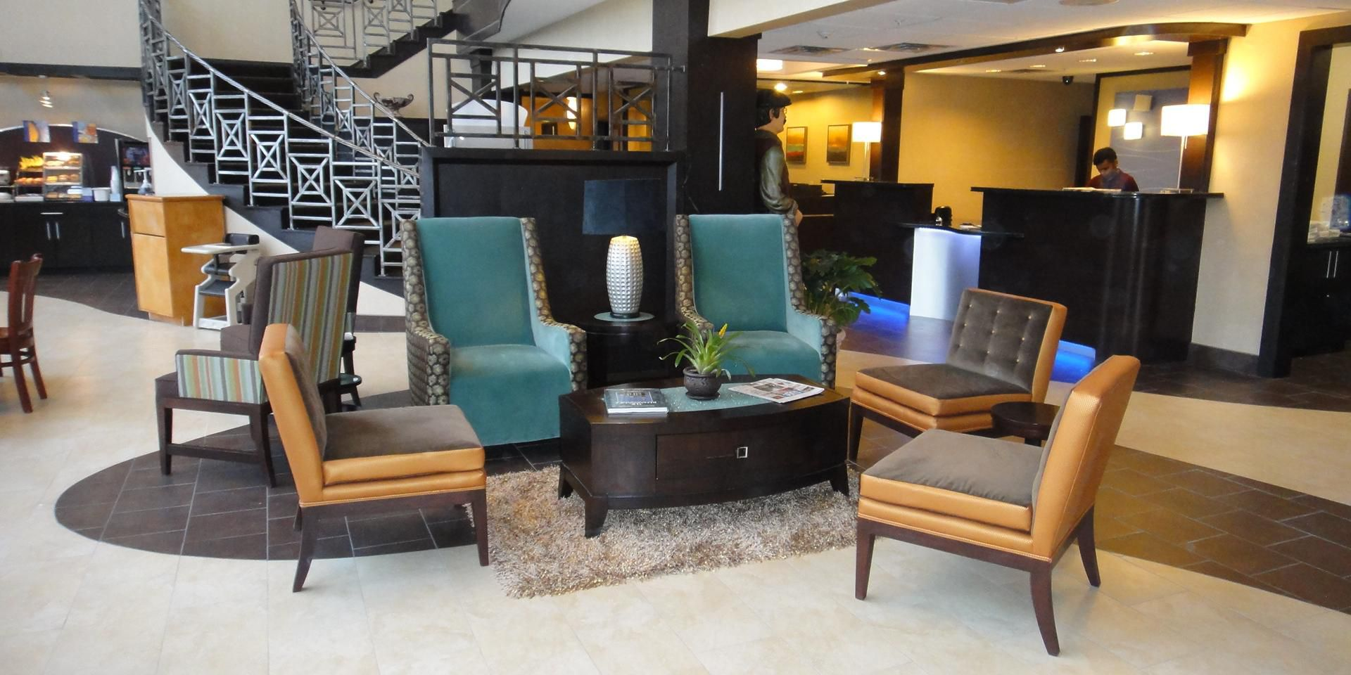 chair king houston distribution center 2 x 4 wood chairs holiday inn express suites north intercontinental hotel by ihg airport lobby area
