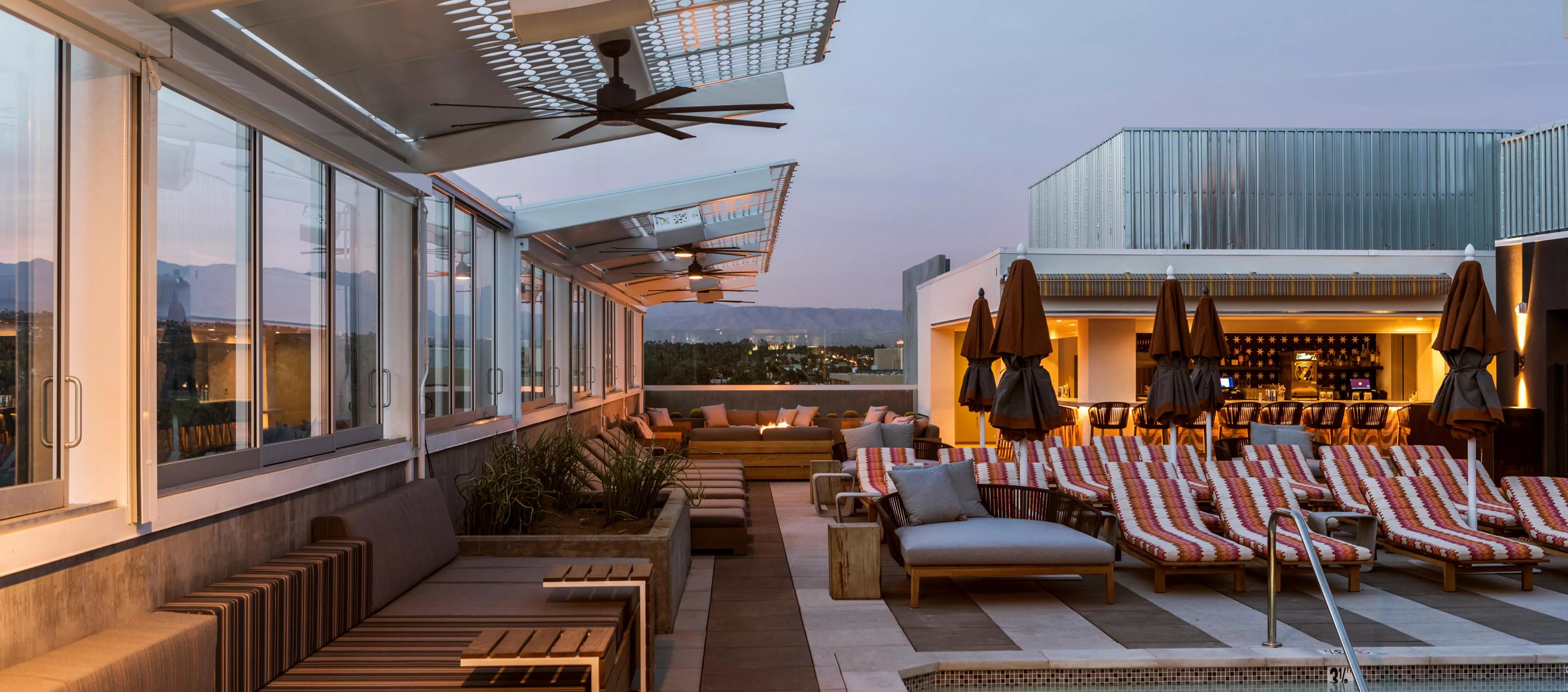 the living room with sky bar color combinations high in downtown palm springs kimpton restaurants s only rooftop