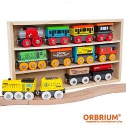 ihocon: Orbrium Toys 12 Pcs Wooden Engines & Train Cars Collection Compatible with Thomas Wooden Railway, Brio, Chuggington 12件火車12個