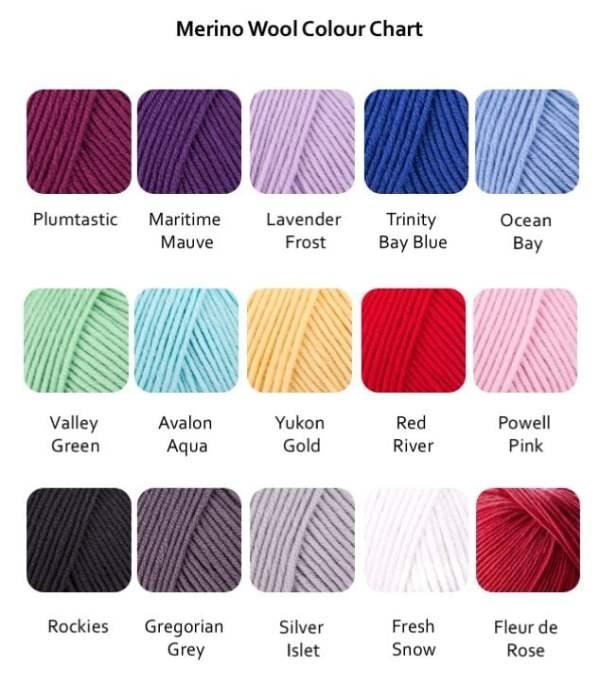 Merino Wool Colour Chart