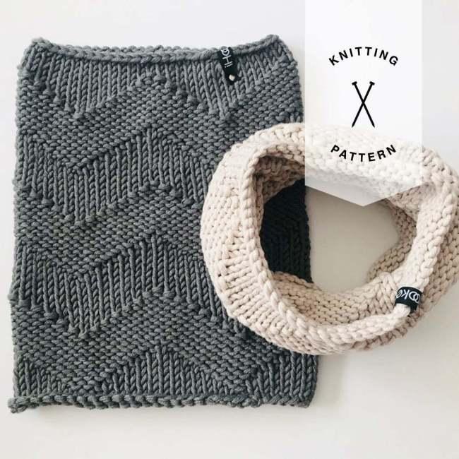 Binary Cowl Knit Pattern