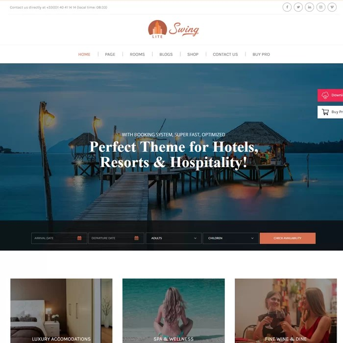 Beaytiful Dynamic Website –  Hotels, Resorts and Hospitality