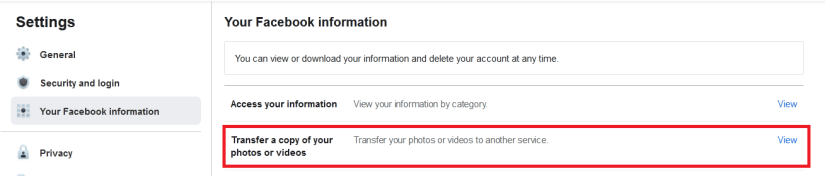 Transfer a copy of your photos or videos