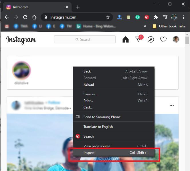 Delete Instagram Posts on PC- Inspect menu