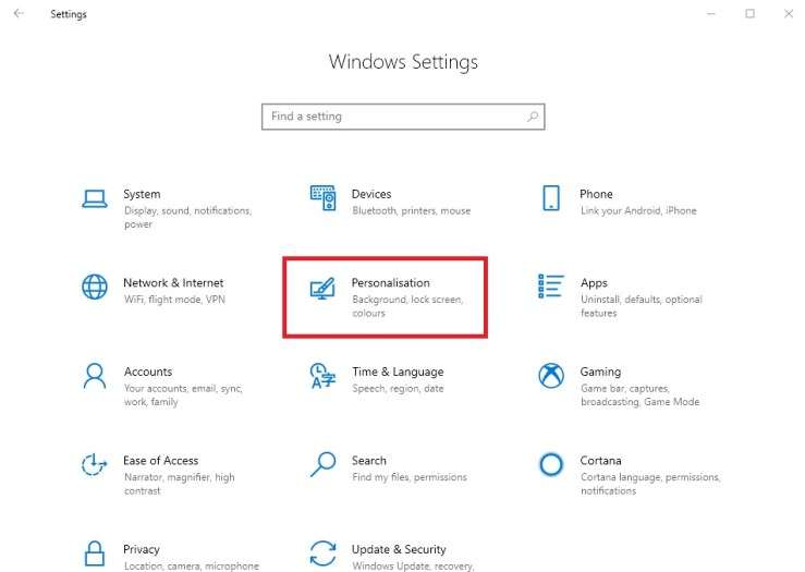 Windows settings - personalisation