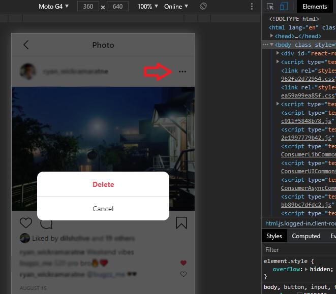 delete option instagram from desktop browser