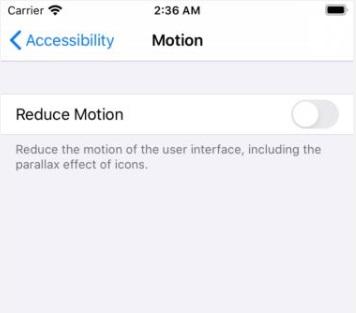 reduce motion ios