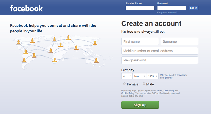 Can i change email address linked to facebook login page