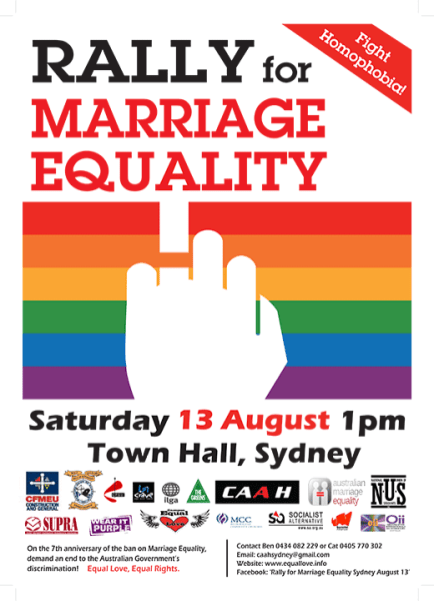 Please join OII Australia at the rally for marriage equality, 1pm, Saturday 13th August, at Town Hall, Sydney