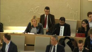 Holly Greenberry speaking to the Human Rights Council