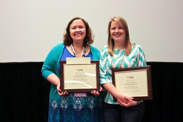 Rachel McCarver, Columbus North High School media adviser, and Nicole Wilson, Carmel High School yearbook adviser, receive MJE certification at the JEA San Francisco awards banquet.