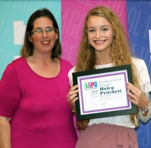 2019 Indiana high school journalist of the year finalist Haley Pritchett, Greenwood Community HS and IHSPA President April Moss. Photo by Leslie Velez, Pike HS