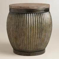 Zinc Metal and Wood Drum Accent Table | World Market