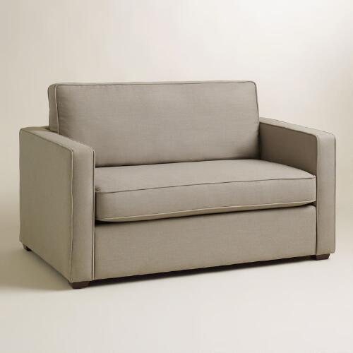 one and half seater sofa replacement cushions for outdoor pebble gray chad chair-and-a-half twin sleeper | world market