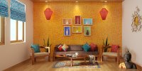 Indian Ethnic Living Room designs Online: Folk Lore design