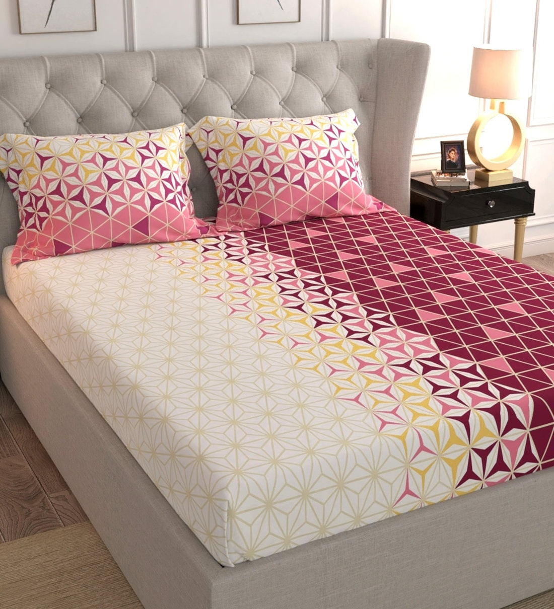 cotton 180tc king size bedsheet with 2 pillow covers