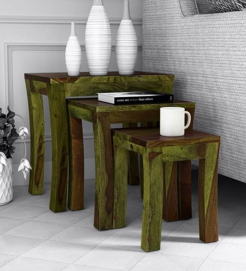 Buy Acropolis Solid Wood Nest Of Tables In Spring Green Finish By Woodsworth Online Modern Nest Of Tables Tables Furniture Pepperfry Product