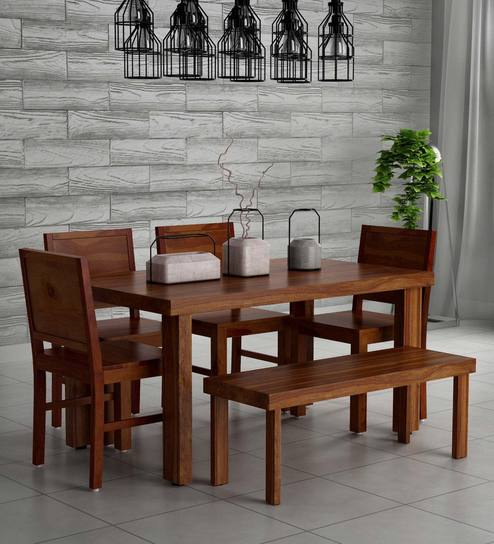 kitchen table set with bench sink drain buy acropolis solid wood six seater dining in provincial teak finish by woodsworth online sets furniture