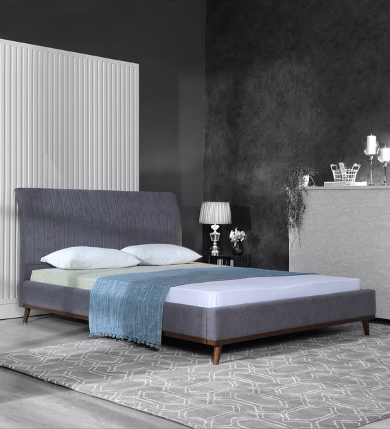 alonso upholstered king size bed in dark grey colour