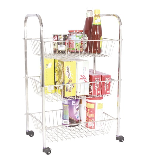stainless kitchen cart mico faucets buy amol jumbo trolley 3 baskets steel