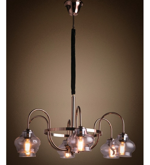 Copper Metal And Glass Chandelier By Anemos