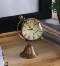 Buy Anantaran Brwon Brass Antique Globe Stand Table Clock ...