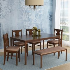 Dark Kitchen Table Cabinet Cost Buy Artois Six Seater Dining Set With Bench Four Chairs In Walnut Finish By Hometown