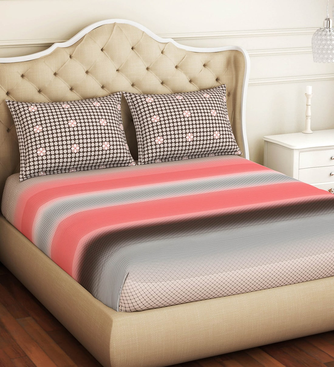 atrium ecom cotton 144tc queen size fitted bedsheet with 2 pillow covers