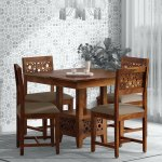 Buy Aura Solid Wood 4 Seater Dining Set In Provincial Teak Finish By Woodsworth Online Transitional 4 Seater Dining Sets Dining Furniture Pepperfry Product