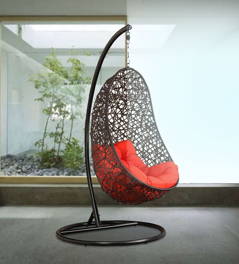 swing chair with stand pepperfry christmas covers walmart buy begonia orange cushion in brown frame by hometown online swings hammocks outdoor furniture product