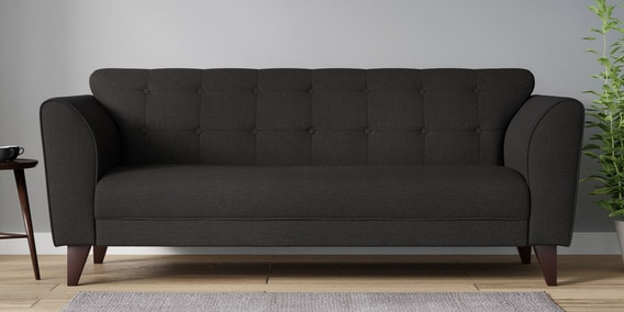 sofa gray color replacement back pillows buy belem three seater in charcoal grey by casacraft