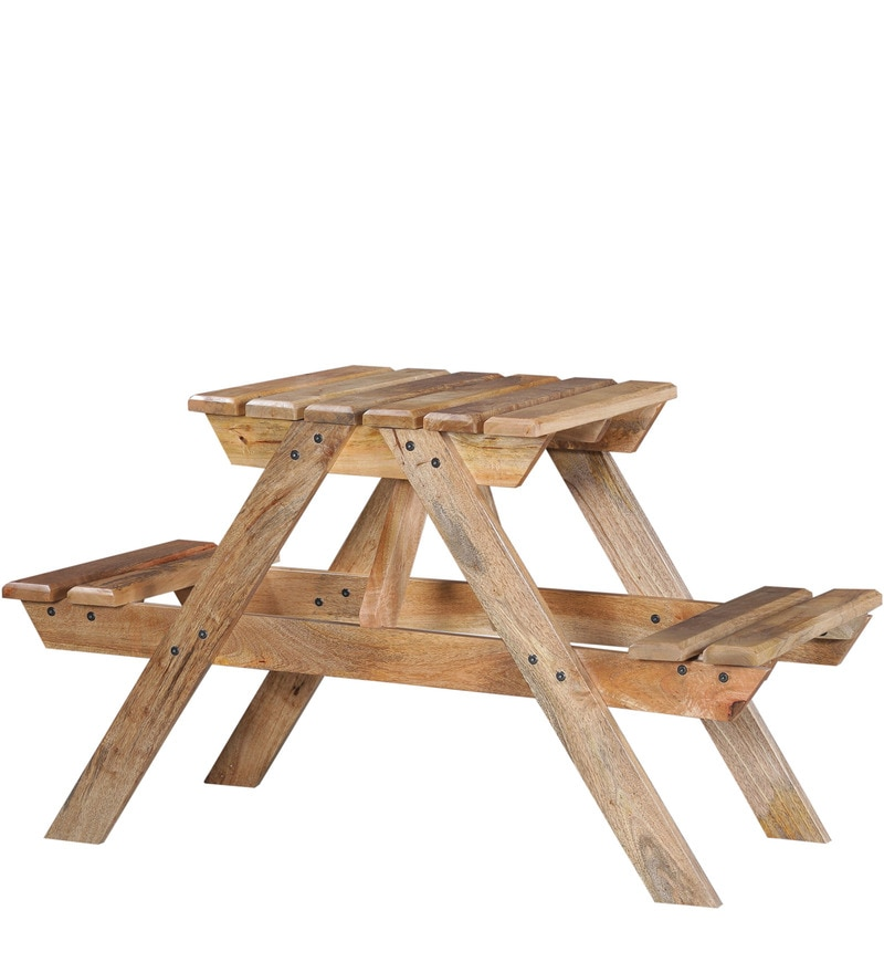 Buy Lomira Two Seater Picnic Table In Natural Mango Wood