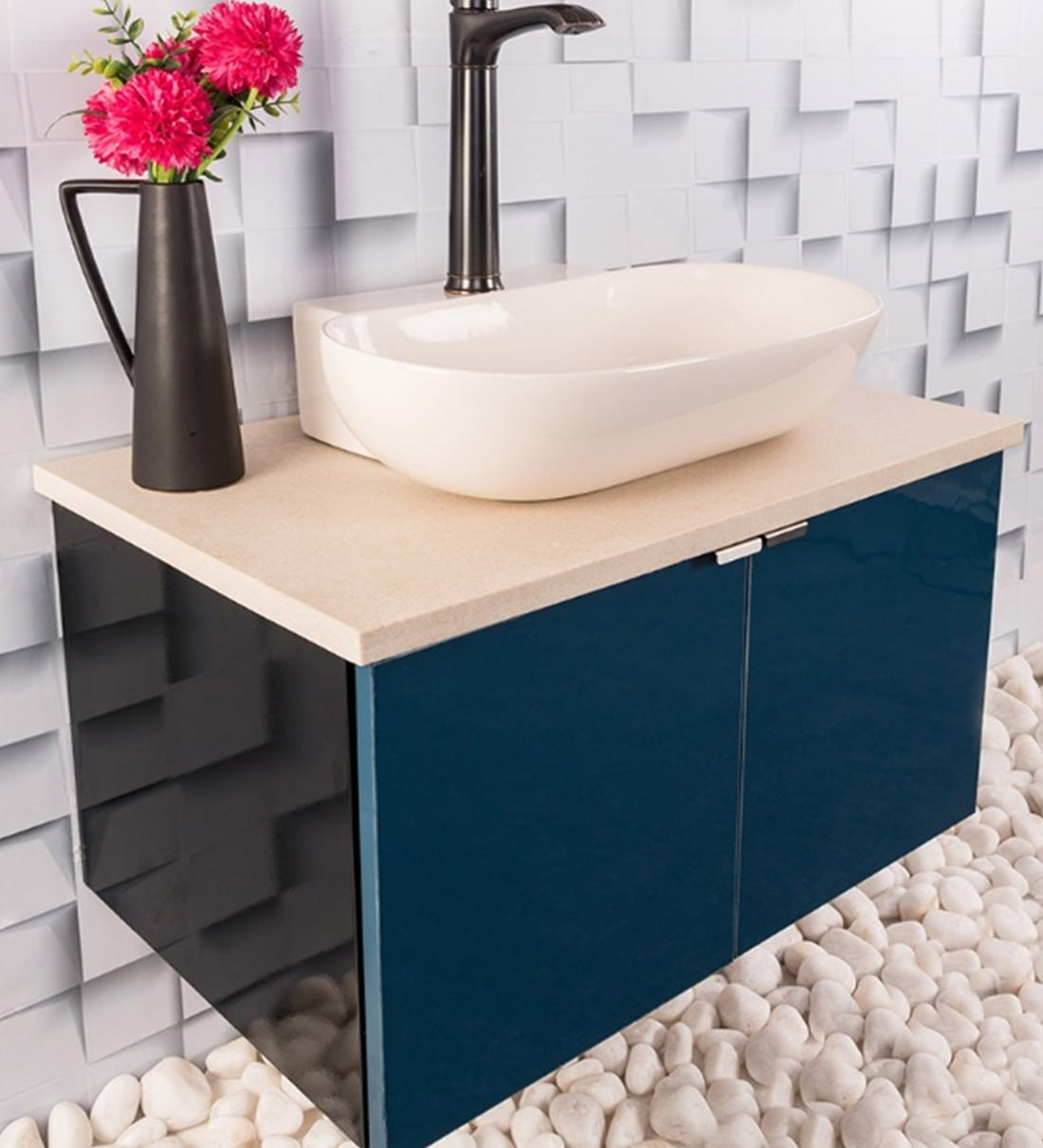 Buy Stainless Steel Bathroom Vanity In Blue With Counter Top Wash Basin By Tusker Online Vanities Bath Discontinued Pepperfry Product