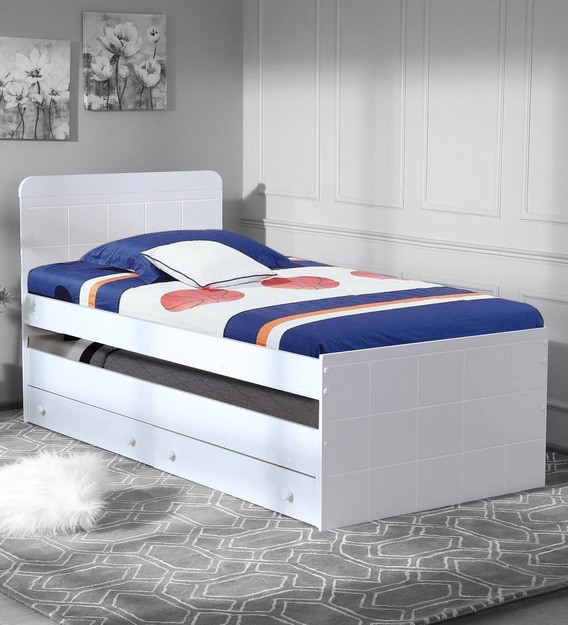 Buy Bruno Single Bed With Pull Out Storage In White Finish By Casacraft Online Trundle Beds Beds Furniture Pepperfry Product
