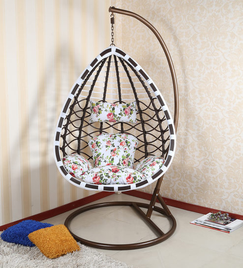 swing chair with stand pepperfry hanging crescent buy caroline floral cushion and by parin online swings hammocks outdoor furniture product
