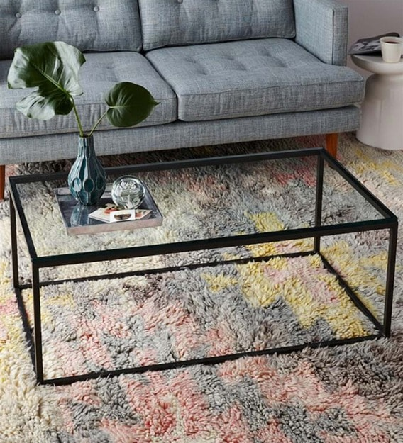 coffee table with black metal frame clear glass top