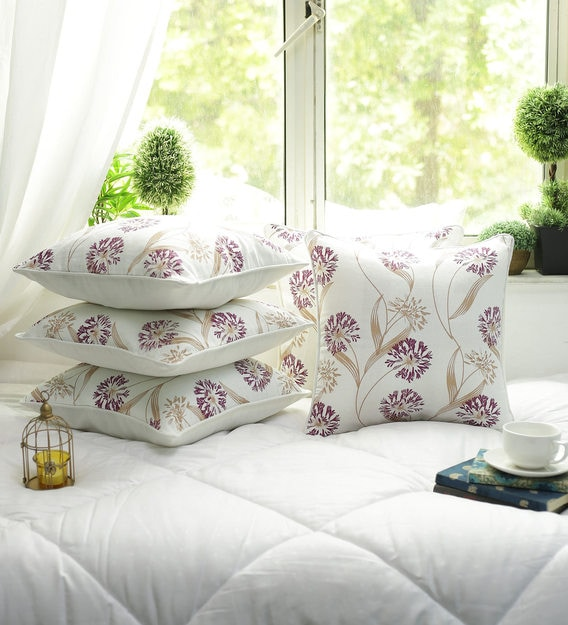 cotton floral pattern 12x12 inch cushion covers set of 5